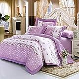 zhENfu Floral Duvet Cover Sets 4 Piece Cotton Pattern Reactive Print Cotton Queen King 1pc Duvet Cover 2pcs Shams 1pc Flat Sheet,Queen,Light Purple