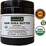 body cream organic - Certified ORGANIC RAW SHEA BUTTER, Huge 17.5 oz Tall Amber BPA Free Jar Unrefined, Virgin, Ivory White (Tan) Premium Quality Made in Africa From The Shea Nut Best Noncomedogenic Natural Moisturizer