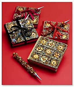 BEJEWELED MINI BOOKS AND PENS (SET OF 4)