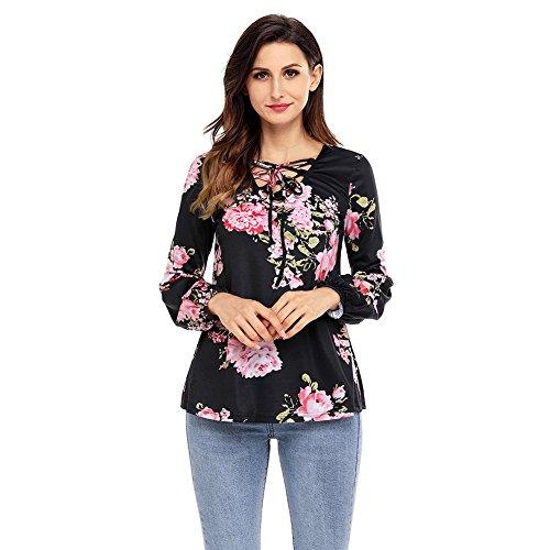 Pullover Slim Larga camiseta Fit V Black Cxq Qin Camiseta Cuello Tops De Manga amp;x Impresa La Mujer 74vTx