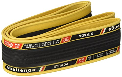 (Challenge Strada Open Tubular Clincher Road Bicycle Tire (Black/Tan - 700 x 25))