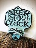 Rustic Patina Beer O Clock Wall Mount Bottle Opener - Durable Cast Iron - Unique Bar Décor - Men's Stocking Stuffer