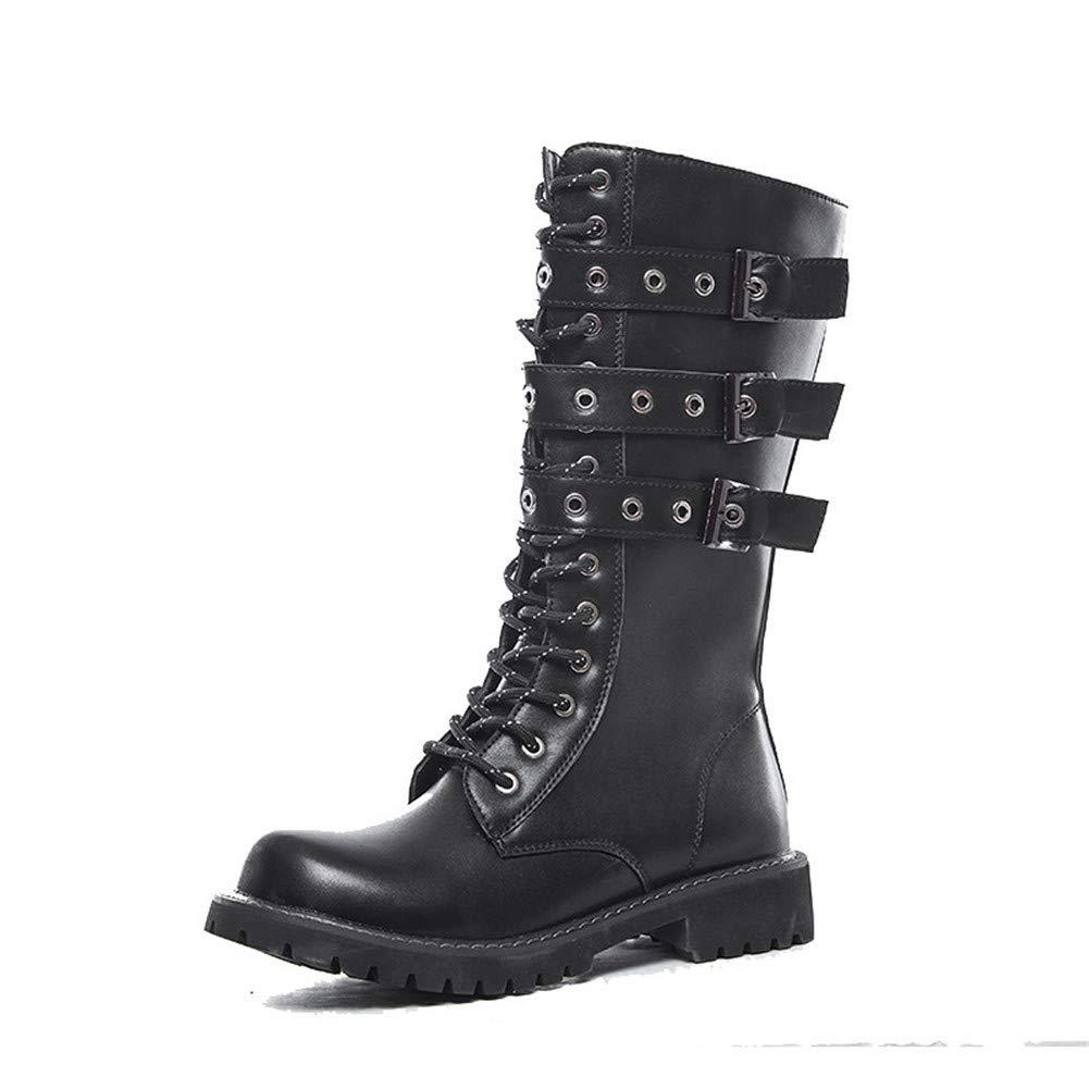 KKKLLL - Stivali da Uomo in Pelle, con Testa Larga, Stivali da palcoscenico, Stivali Militari
