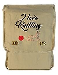 Tenacitee I Love Knitting Putty Canvas Field Bag
