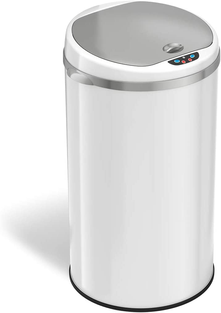 iTouchless with AbsorbX Odor Filter System, 30 Liter Garbage Bin, Perfect for Home, Kitchen, Office 8 Gallon Touchless Sensor Trash Can, Round-Steel White