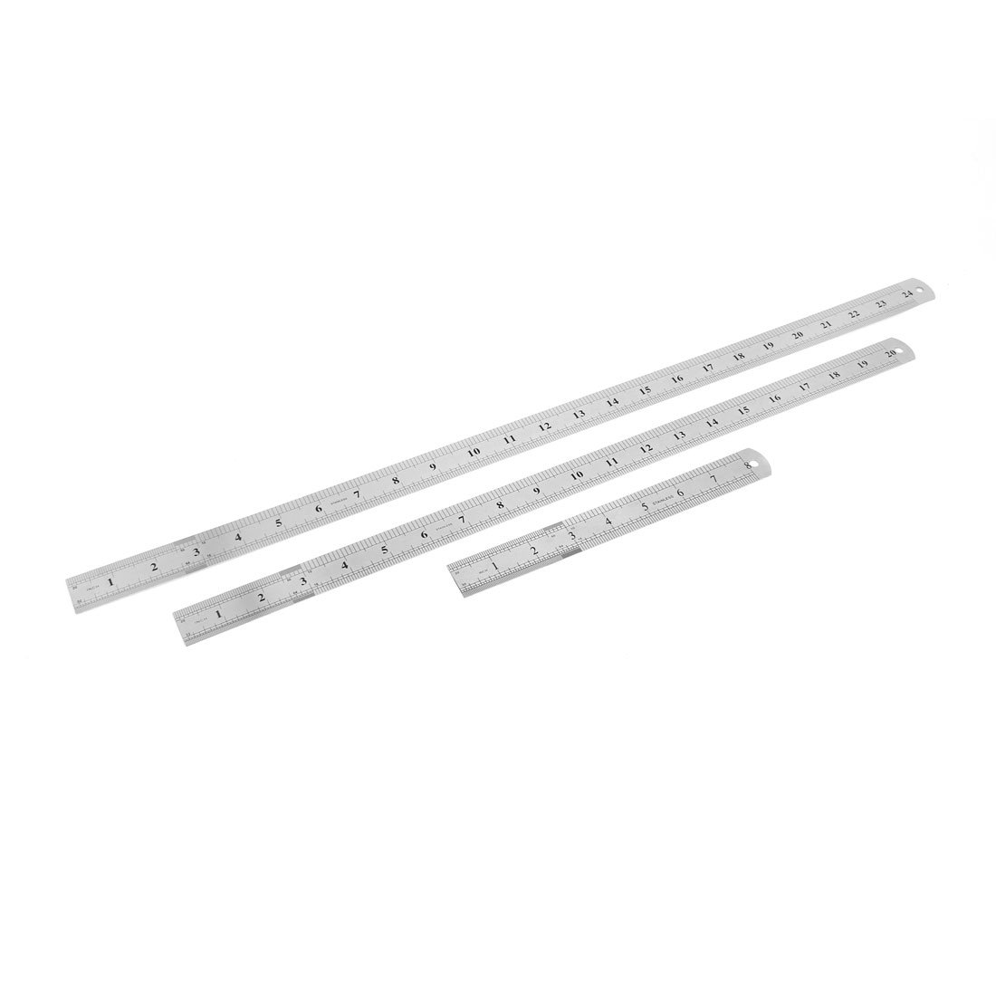 Uxcell Double Sides Straight Ruler, 20cm 50cm 60cm, 3 in 1, Silver Tone