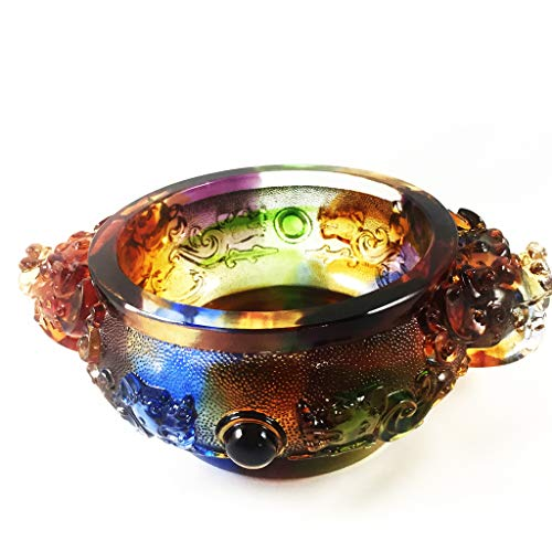 Amore Jewell Bring Wealth Treasure Bowl Zhao CAI Jin Bao, Colored Glaze Glass (Liuli Crystal Glass)
