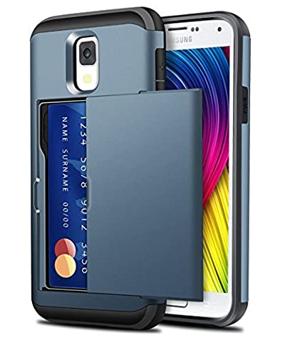 Galaxy S4 Case, ELOVEN Galaxy S4 Wallet Case Slide Card Slot Holder Shockproof Heavy Duty Protection Shell Soft Rubber Bumper Anti-Scratch Hard Cover for Galaxy S4 - Dark (Galaxy S4 Cases With Card Holder)