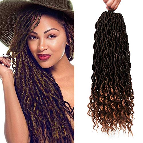 - 6 Packs/Lot Crochet Hair Curly Briads Wavy Faux Locs with Curly Ends 24 Strands/Pack Goddess Locs Soft Synthetic Crochet Hair Braiding 18 Inches Ombre Dark Blonde Hair Extensions