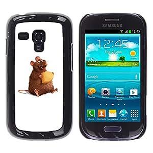 KOKO CASE / Samsung Galaxy S3 MINI NOT REGULAR! I8190 I8190N / queso arte hámster rata roedor lindo de la historieta / Delgado Negro Plástico caso cubierta Shell Armor Funda Case Cover