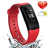 Fitness Activity Tracker with Heart Rate Monitor - Blood Pressure Monitor Smart Bracelet - Water Resistant Pedometer Alarm Sleep Monitor Smart Wristband with Weather Forecast for Men Women(Red)