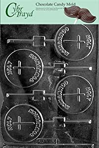 Cybrtrayd R026 Holy Communion Lolly Chocolate Candy Mold with Exclusive Cybrtrayd Copyrighted Chocolate Molding Instructions plus Optional Candy Packaging Bundles
