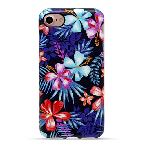 GOLINK iPhone 7 Case for Girls/iPhone 8 Floral Case, Floral IMD Printing Slim-Fit Anti-Scratch Shock Proof Anti-Finger Print Flexible TPU Gel Case for iPhone 7/iPhone 8 -Purple Hibiscus