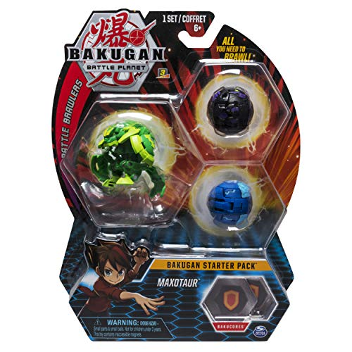 Character Bakugan Pack - Bakugan Starter Pack 3-Pack, Maxotaur, Collectible Transforming Creatures, for Ages 6 and Up