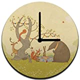 Mouse + Magpie Picnic Under the Tree Kids Wall Clock Decorative 12'', Quiet, Non-Ticking, Perfect for Kids or Toddler Room, Nursery, Playroom or Office, Great Gift (black)