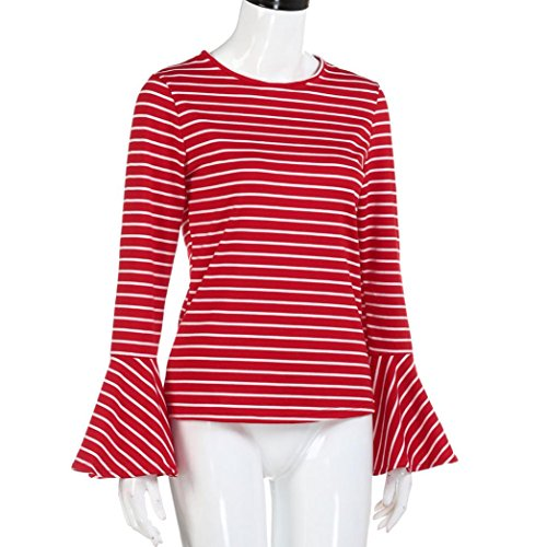 Long Sleeve Tops Women Striped Long Flare Sleeve Blouse Casual O-Neck Tops (M, Red) Red