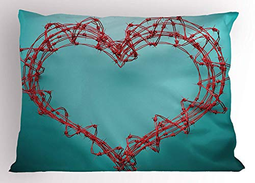 Standard Boundary Wire - MTDKX Barbed Wire Pillow Sham, Barbed Wire in Heart Shape Thorny Boundary Rustic Creative Design Artwork, Decorative Standard Queen Size Printed Pillowcase, 30 X 20 inches, Red Turquoise
