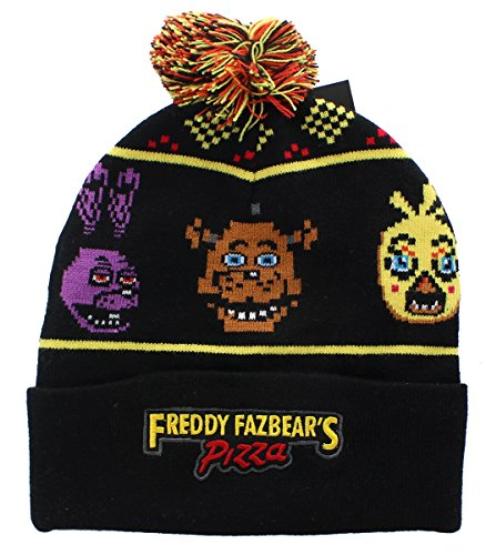 Five Nights At Freddys Fnaf Woven Characters Cuffed Pom Beanie Knit Hat