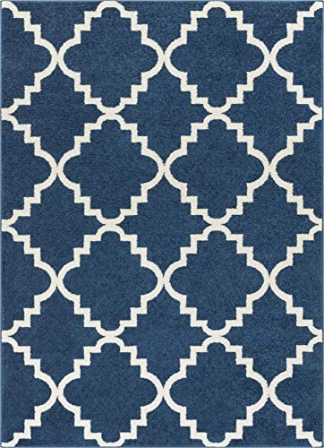 Well Woven Sydney Lulu S Lattice Navy Blue Modern Area Rug 5 3 X 7 3
