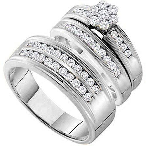 (Dazzlingrock Collection 0.95 Carat (ctw) 14K Round Diamond Men & Women's Cluster Flower Engagement Ring Trio Set 1 CT, White Gold)