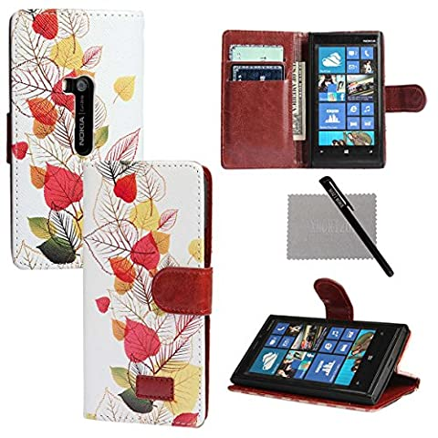 xhorizon New Floral Leaf Style Wallet Folio Flip Magnetic Closure Stand Leather Case Cover with Credit Card Slot Holder for Nokia Lumia 920 with xhorizon stylus and cleaning cloth (Cover Case Nokia Lumia 920)