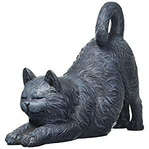 Design Toscano Playful Cat Stretching Statue, Gray Stone