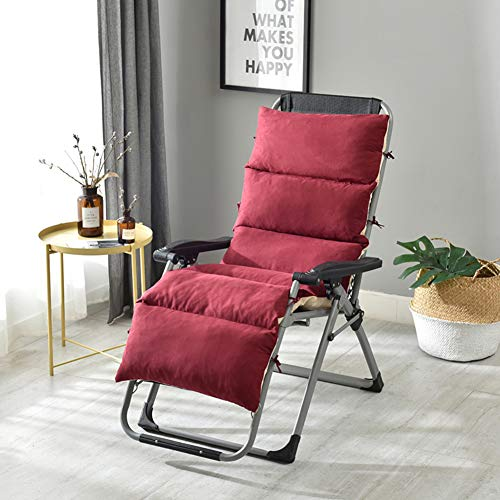ZHUAN Not-Skid Backing High Back Chair Cushions, Washable Foldable Rocking Chair Cushion Thicken Recliner Pads Mat-red Wine 175x50x10cm(69x20x4inch)