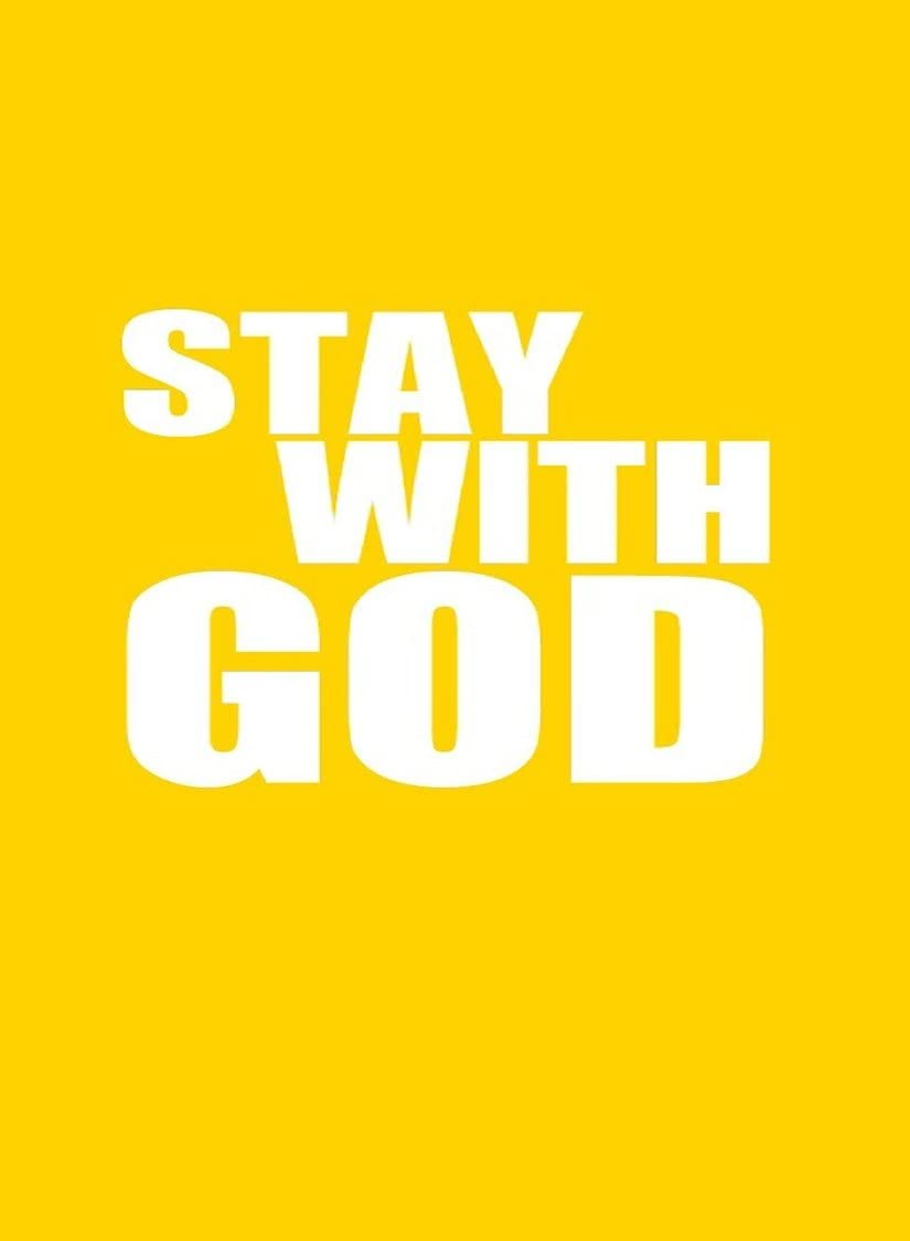 Rectangle Refrigerator Magnet -Stay With God White Text Religion Hindu, Buddhist, Christian