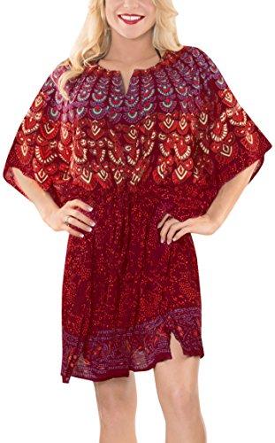 collo tutto salone beachwear pi abbigliamento ricamato La leggero Leela signore profondo bagno superiore casual costume rayon classico tunica in da 1 kimono XqwxH4g