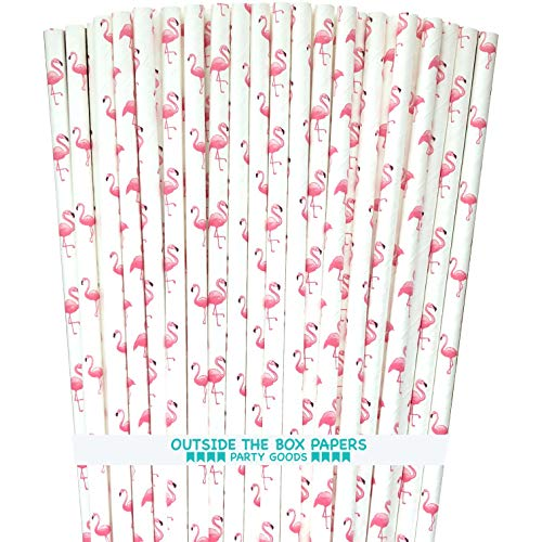 - Flamingo Themed Paper Straws - Pink White - 100 Pack