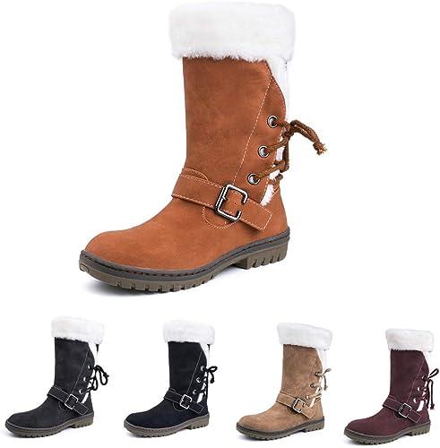 Femme Courts Rond 43 Bas Bottes 34 Chaussures de Marron Plate Bottes Doublure Neige Chaud Boots Hiver Lacet Haut Noir Mode Lacets 3RA54qjL