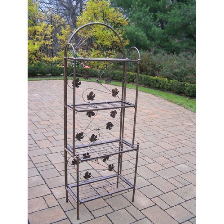 Indoor / Outdoor Baker Rack - Black, Durable Cast Iron Construction for Years of Use, High-Grade, Black Polyester Powder-Coat Finish,4 Shelves for Display or Storage