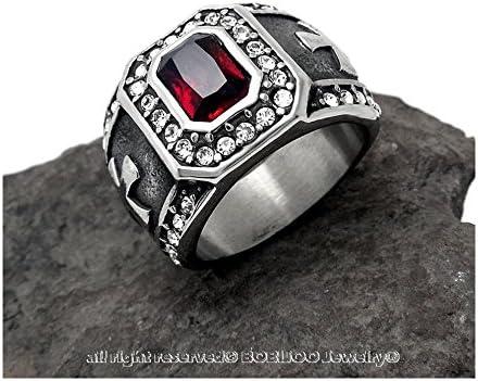 BOBIJOO Jewelry Bague Chevali/ère Homme Templier Royaliste Catholique Rouge Croix Strass Acier