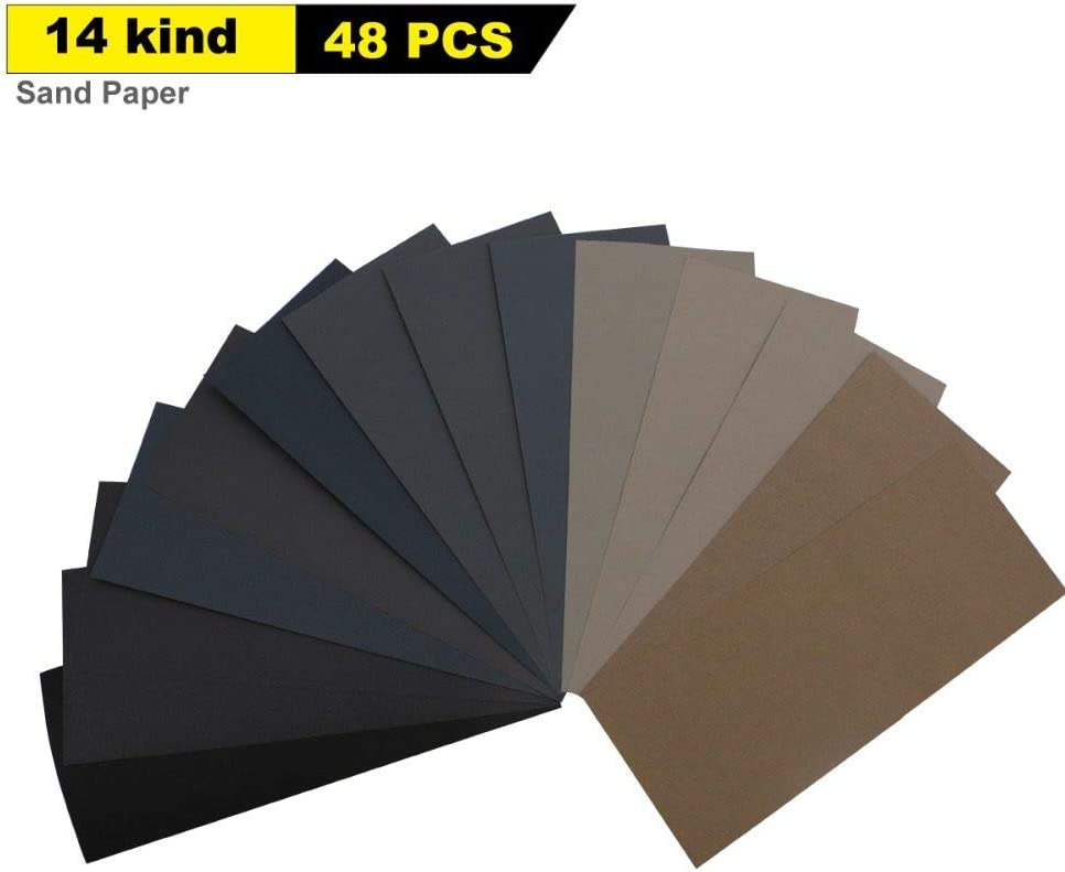 ZCZSDXB sandpaper-48pcs 9x3.6 Wet Dry Sandpaper 320 to 10000 Assorted Grits for Wood Furniture Finishing Metal Sanding and Automotive Polishing