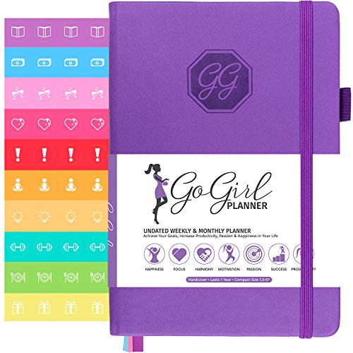 GoGirl Planner - Best Undated Goal Planner & Organizer for Women to Improve Time Management, Increase Productivity & Achieve Your Goals. Undated - Start Anytime, Lasts 1 Year, 5.3