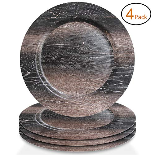 ChargeIt by Jay1270505-4 Walnut Set of 4 Faux Wood Round Melamine Charger Plates 13x13