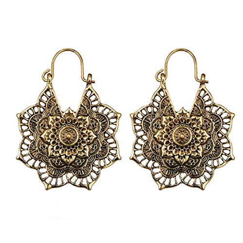 Myhouse Bohemian Vintage Mandala Flower Drop Dangle Earring for Women Girl Hollow Floral Pendant Earrings,Gold Color