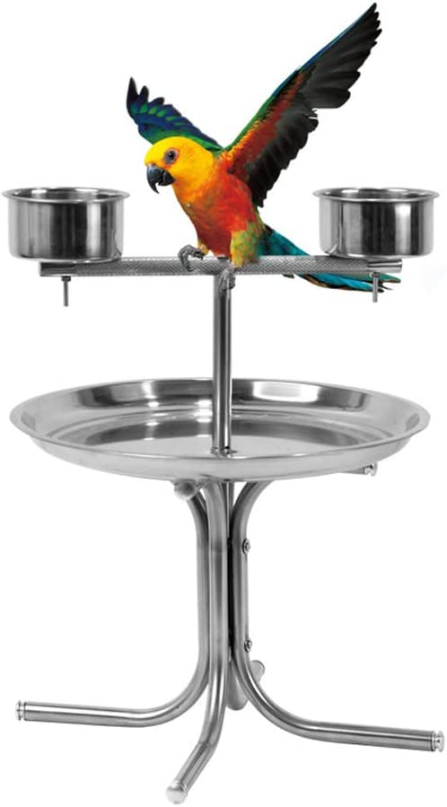 Olpchee Stainless Steel Bird Play Stand Parrot Playstand Pet Bird Tray Feeder with 2 Feeding Cups