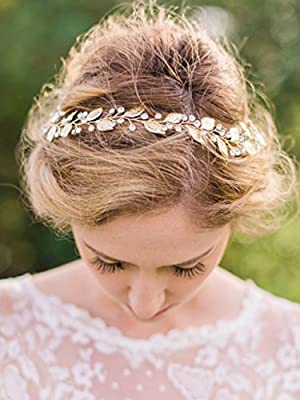 Bridalvenus Wedding Headband Bridal Headpieces for Bridesmaid and Flowergirls - Laurel Leaf Headband, Gold Leaf Hair Accessories for Women and Girls