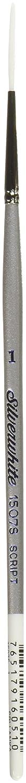 Silver Brush 1507S-1 Silverwhite Short Handle White Taklon Brush, Script Liner, Size 1 Silver Brush Limited