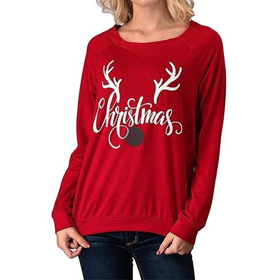 Damen Langarmshirt Rovinci Weihnachten Rentier Buchstabe