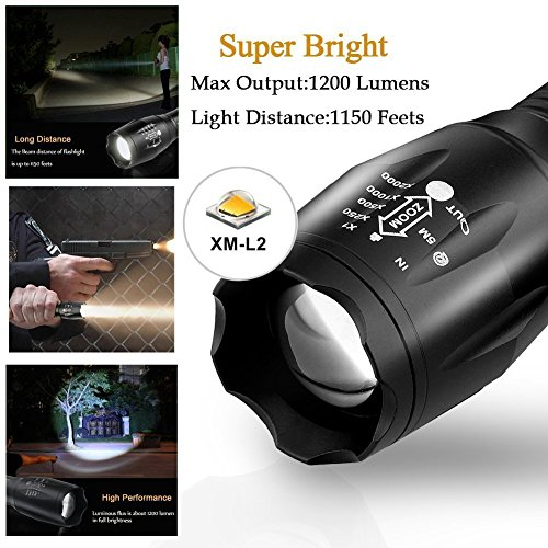 Ledeak Linterna LED Alta Potencia, 1200 Lúmenes CREE L2 Antorcha de Mano, 5 Modos Zoomable Impermeable Táctica con 18650 Batería...