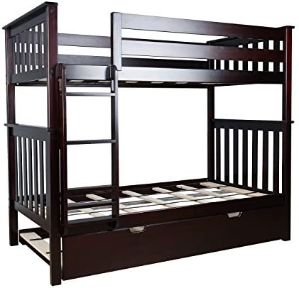 Max Lily Solid Wood Twin over Twin Bunk Bed with Trundle Bed, Espresso