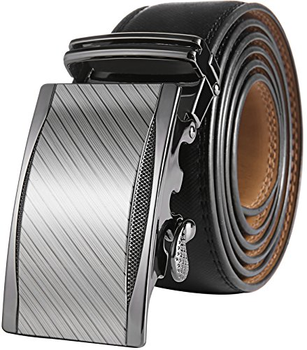 "Marino Men's Genuine Leather Ratchet Dress Belt with Automatic Buckle, Enclosed in an Elegant Gift Box - Gunblack Silver Custom: Up to 44"" Waist"