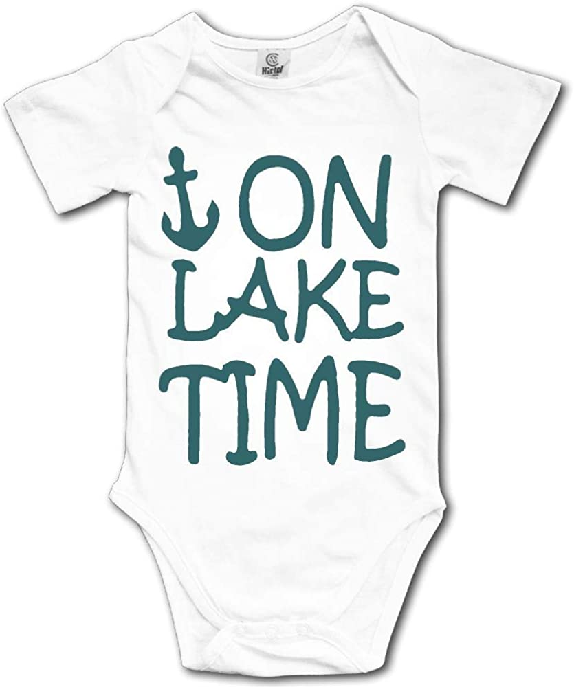 On Lake Time Kids Girl Boy Short Sleeve Jumpsuit Outfit 0-24 Months