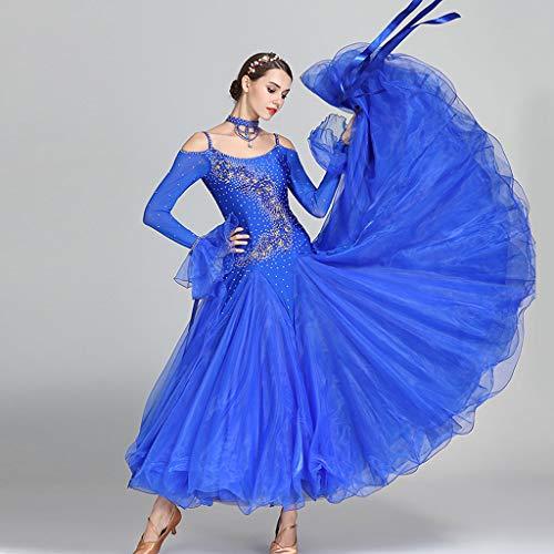 Costume Lunghe La V Royal Danza Con A Altalena Blue Ballo Retro Maniche Waltz Modern Abiti Collo Sul Da Per Donna Scollo OtT88H