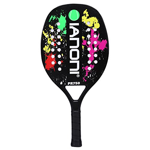 ianoni Beach Tennis Racket, Carbon Fiber Grit Face with EVA Memory Foam Core Beach Tennis Racket (Black) (Carbon Fiber Tennis Racket)