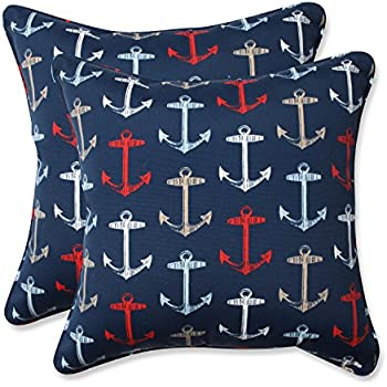 Pillow Perfect Outdoor/Indoor Anchor Allover Arbor Throw Pillow (Set Of 2),