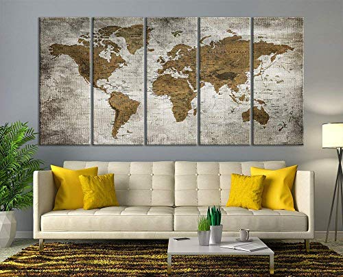 (Modern Large Wall Art Vintage Old World Map Map Push Pin Canvas Print for Wall Decor - Wall Art Canvas Print Antique Travel Map for Home and Living Decoration - Ready to Hang - Framed - Ready to Hang)