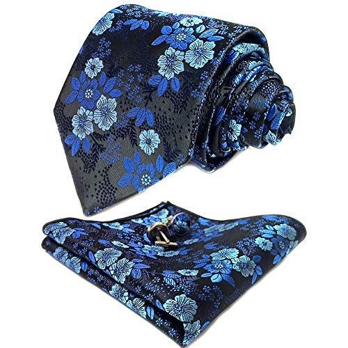 CANGRON Men Blue Black Floral Tie Set Necktie with Pocket Square Cufflinks Giftbox LSH8ZQ